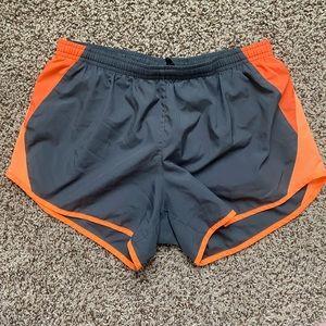 Grey and orange Nike Dri-Fot shorts